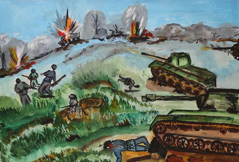 Картинки нарисованные красками о войне